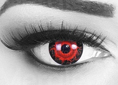 bige rote schwarze Crazy Fun Cataclysm Jahres Kontaktlinsen.Topqualität zu Halloween und Karneval mit gratis Kontaktlinsenbehälter ohne Stärke! (Kontaktlinsen Halloween Billig)