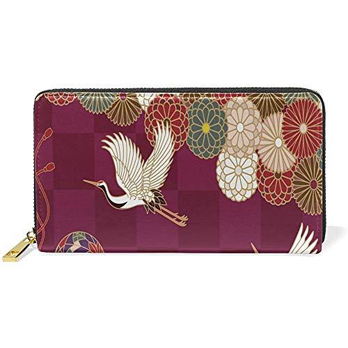 Mandschurenkranich Blumenmuster Leder große Lange Reißverschluss Kupplung Frauen Brieftasche Telefon Pass Scheckheft Kartenhalter