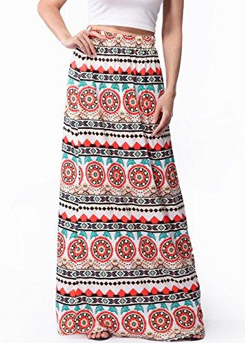 Frauen langer böhmischer hoch taillierter Hippierock Strand Maxi Kleid C0073