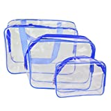 Pixnor 3-in1-Kulturbeutel Veranstalter Handtaschen klar wasserdicht PVC Transparent Tote Kosmetiktaschen Make-up Taschen (blau)