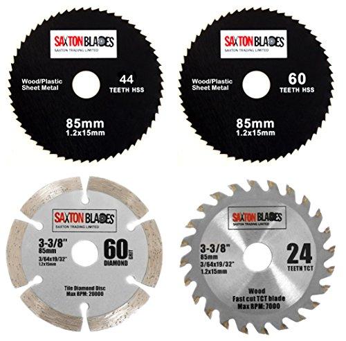 Saxton 85mm HSS-Kreissägeblätter, hartmetallbestückt (TCT), zum Fliesenscheiden, für Worx Worxsaw Bosch Makita Ryobi, Pack B