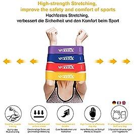 WOTEK Fasce Elastiche Elastici Fitness Banda Elastica Loop Bands-4x set di fasce elastiche di resistenza, Riabilitazione Fisico e motore Elastico Bodybuilding per uomini e donne,Attrezzi Palestra Casa