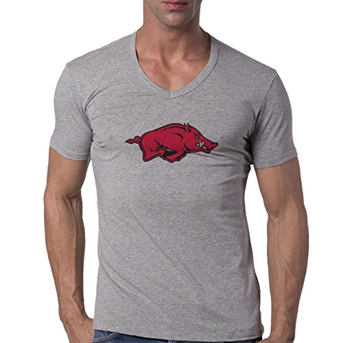 University of Arkansas Athletic Mark Logo Herren V-Neck T-Shirt Grau