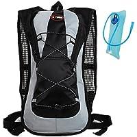 Haoyk - Mochila deportiva de 5 L impermeable y ligera con bolsa de hidratación de 2 L, reflectante, para mujer y hombre, negro