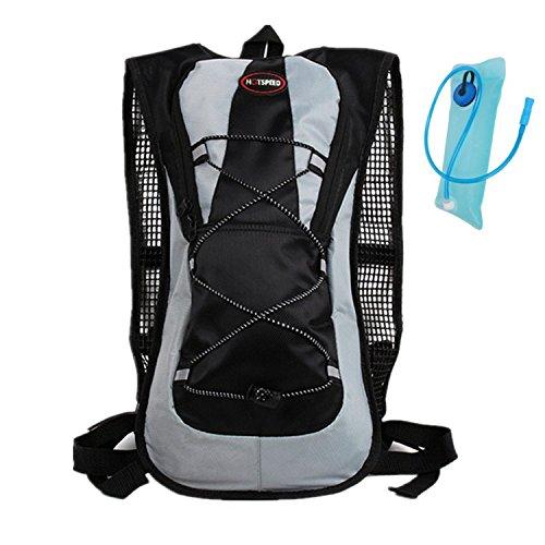 haoyk 5L wasserdicht Rucksack Leicht Trinkblase Bag Sport Water Bag (2L) mit reflektierend für Frauen Herren Laufen Ski Wandern Fahrrad Mountain Schwarz