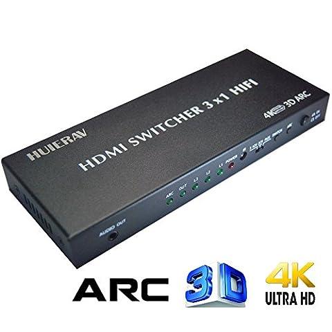 Huierav HDMI Switch 3x 1avec audio Extracteur Audio HDMI | HDMI Arc Extracteur | avec optique Toslink SPDIF coaxial L/R Sortie Audio | 4Kx2K/30hz, 1080p, 3d