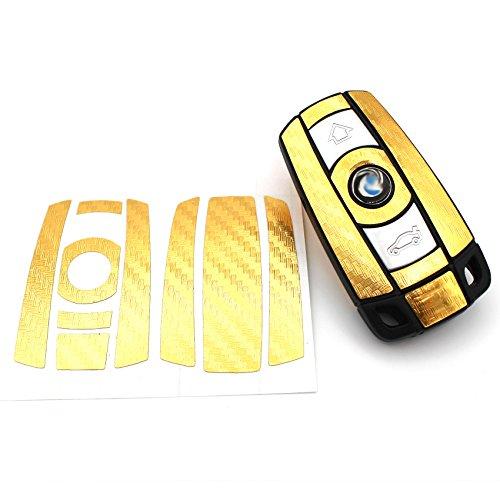 Schlüssel Folie BB für 3 Tasten Auto Schlüssel (nur Keyless Go) Folien Cover von Finest-Folia (Gold Carbon)