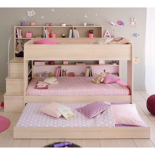 Jugendmöbel24.de Hochbett akazie Bettschubkasten + Lattenrostplatten + Regale + Leiterpodest Spielbett Kinderbett Kinderzimmer Doppelbett Stockbett Etagenbett