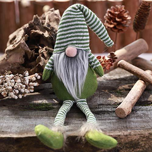 Ceally Christmas Decoration Striped Hat Hanging Leg No Face Doll Room Decoration Mini poupée Pendentif accroché Ornements d'arbre Décorations pour la Décoration d'intérieur en Plein air (GN)
