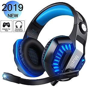 Gaming Kopfhörer, Muzili GameK-2 LED Gaming Headset mit Mikrofon Computer Kopfhörer mit Lautstärkeregler für PS4 Smartphone PC iPad Laptop