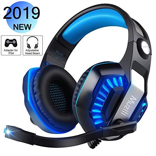 Gaming Kopfhörer, Muzili GameK-2 LED Gaming Headset mit Mikrofon Computer Kopfhörer mit Lautstärkeregler für PS4 Smartphone PC iPad Laptop - Mikrofon Kopfhörer Geflochten Mit