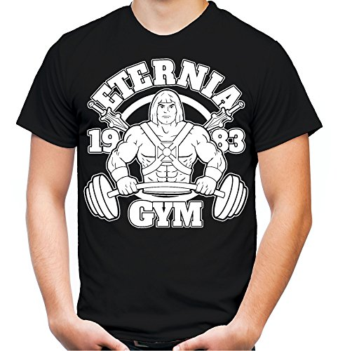 (Eternia Gym T-Shirt | Sport | Männer | Herren | MMA | He-Man | Masters of the Universe | Skeletor | Grayskull | Kostüm | Fun (L, Schwarz))