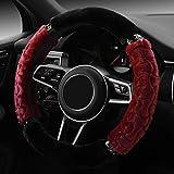 WAOBE 38 centimetri Autunno Inverno Autunno Bello Peluche Soft Car Cover Steering Wheel Copertura comoda e calda Beige / Nero / Rosso / Viola / Bianco , Bianca