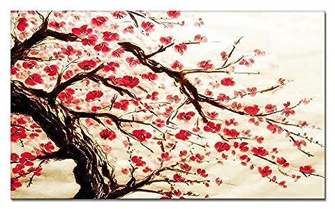 Moxo Fleurs rouges sur toile style chinois Peinture abstraite photos Impressions encadrée prête à suspendre pour décoration murale