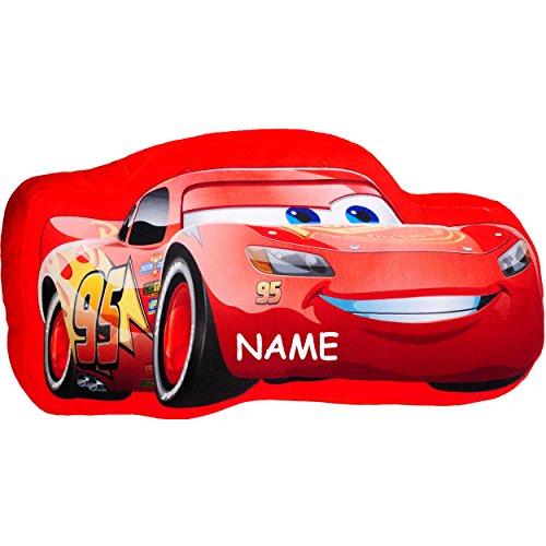 alles-meine.de GmbH Plüsch Kissen / Schmusekissen / Sitzkissen -  Disney Cars - Lightning McQueen  - incl. Name - Kuschelkissen - 40 cm * 22 cm - Figur Form - groß - sehr weich..