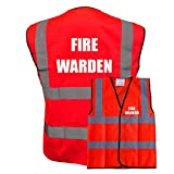 FIRE WARDEN Red Vest Printed Front and Back Safety Workwear- Plus a Brook Hi Vis UK D...
