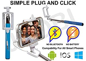 Selfie Stick Monopod With Wired Aux Cable Connectivity Compatible For Coolpad Note 3 -Cyan