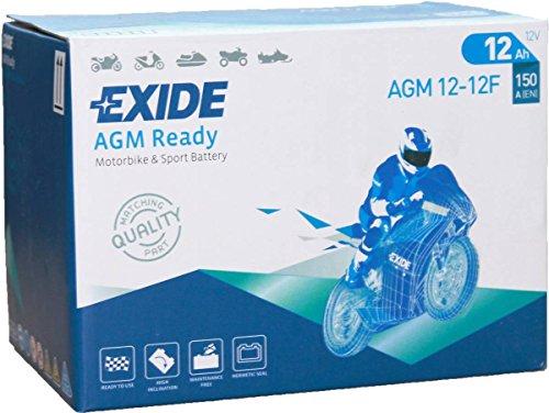 EXIDE Bike Motorrad Roller Batterie - AGM12-12F - 12 Volt, 12Ah, 100A EN Kaltstart, Faston Stecker, 150 * 100 * 100mm