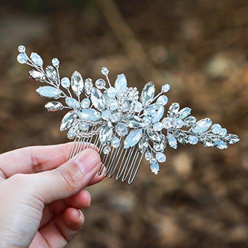 handcess Hochzeit Haarkamm Silber Kristall Opal Blau Strass Vintage Haarschmuck Kämme für Bräute und Brautjungfern