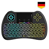 Tecboss [German Layout] Mini Keyboard Wireless, Mini Keyboard Wireless Touchpad, Mini Keyboard Illuminated for Smart TV Remote, HTPC, IPTV, Android TV Box,