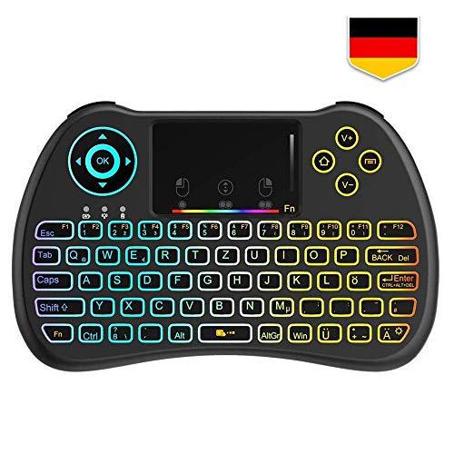 Tecboss [Deutsches Layout] Mini Tastatur Wireless, Mini Tastatur Kabellos mit Touchpad, Mini Tastatur Beleuchtet für Smart TV Fernbedienung, HTPC, IPTV, Android TV-Box, X Box 360, PS3, PC (Tv-tastatur Wireless)