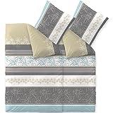 aqua-textil Bettwäsche 4tlg 155x220 Baumwolle Set Kopfkissen Bettbezug Reißverschluss atmungsaktive Bett Garnitur 80x80 Kissen Bezug Blumen Streifen türkis Natur beige grau 0011842 Trend Vanesa