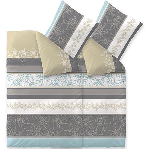 aqua-textil Bettwäsche 4tlg 155x220 Baumwolle Set Kopfkissen Bettbezug Reißverschluss atmungsaktive Bett Garnitur 80x80 Kissen Bezug Blumen Streifen türkis Natur beige grau 0011842 Trend Vanesa (Natur Beige Streifen)