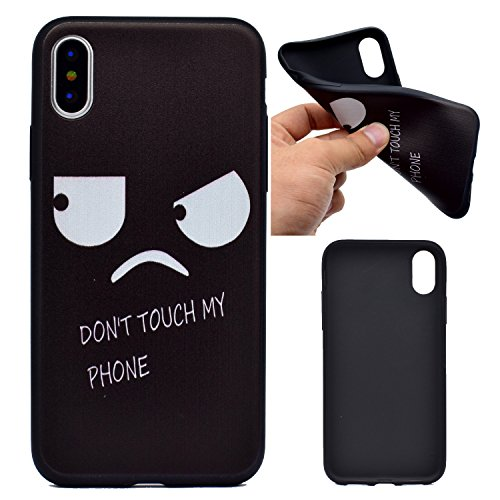 Cover iPhone X, Voguecase, Custodia Silicone Morbido Flessibile TPU Custodia Case Cover Protettivo Skin Caso Per Apple iPhone X(Nero - be happy 03) Con Stilo Penna Nero - grande occhio/my phone