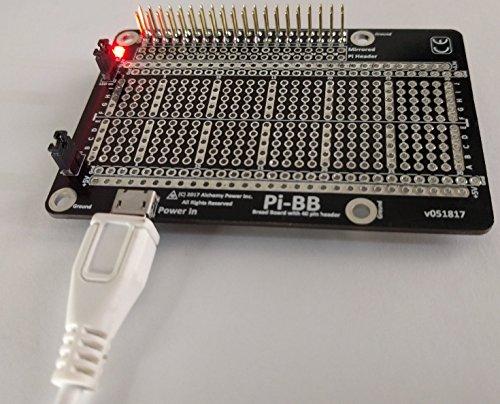Alchemy Power Inc. Pi-BB - Halbe Größe doppelseitig angetriebenes Breadboard, USB angetrieben mit einem 40-Pin-Header-Lötmittel. Macht ein Himbeer-Pi oder nur das Brotbrett. - Brot Board Pi Raspberry