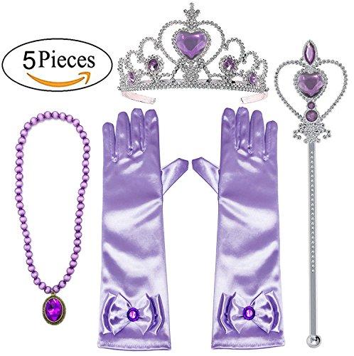 (Alead Prinzessin Verkleiden Sich Rapunzel lila 4 Stück Geschenk-Set Diadem,Handschuhe,Zauberstab,Halskette … (lavendel))