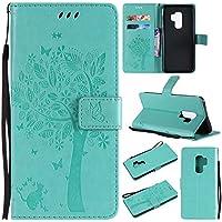 DENDICO Funda Galaxy S9 Plus, PU Impresión Cuero Carcasa con TPU Interior Suave Case, Flip Billetera Magnético Funda con Función de Soporte para Samsung Galaxy S9 Plus -Verde