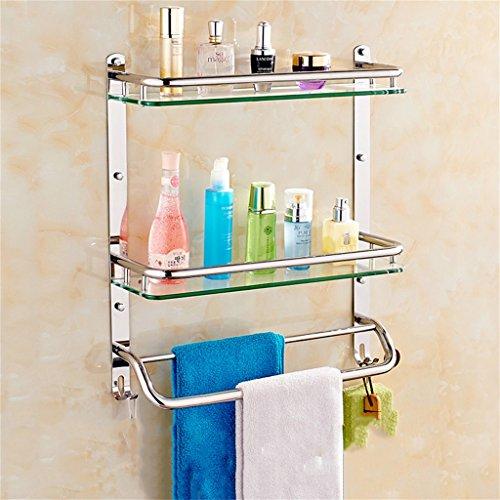 Badezimmer Regal Edelstahl-Badezimmer Regal Glas Badezimmerwandbefestigungen Sicherheit abgerundete Ecken (Color : 31 * 56CM) - Sicherheits-glas-regale