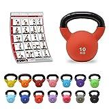 POWRX Kettlebell Neopren 2-26 kg inkl. Workout I Kugelhantel in versch. Farben und Gewichten I Bodenschonende Schwunghantel