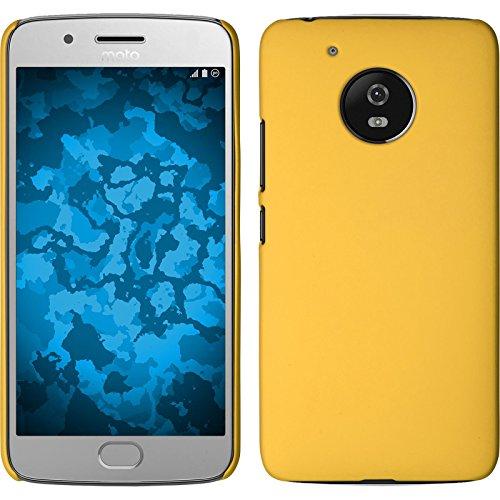 PhoneNatic Case kompatibel mit Lenovo Moto G5 - Hülle gelb gummiert Hard-case + 2 Schutzfolien Gelb Hard Case