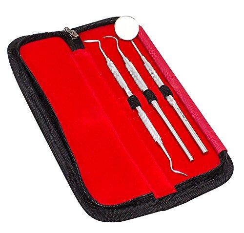 3 pezzi Set: Dentalspiegel (Vergrößerungsspiegel) + 2 Sonde diverse (winkel) Mundspiegel Nr. 5