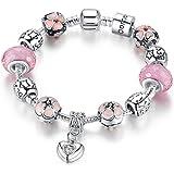 anewish Bracciale da Donna Rosa Charms Ciondolo a Forma di Cuore & Fiore Beads - Gioielli alla Moda , 19cm