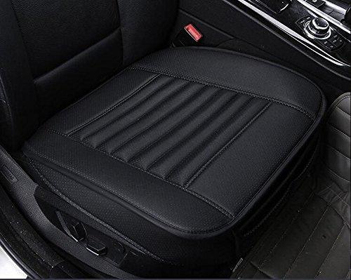 EDEALYN O-QP002-Black-B PU-Leder & Bambus-Kohle Einzelsitz ohne Rückenlehne Auto-Sitzkissen Autositzabdeckung 1PCS Schwarz width 20.8 × deep 19.68''