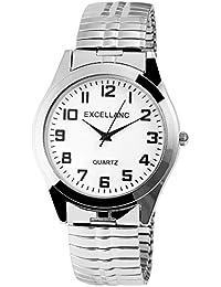Excellanc llanc Reloj de hombre con cordón plata metal blanco clásico elegante Hombre Cuarzo Analógico Reloj de pulsera