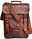 "15"" Leather Messenger Bag Laptop case Office Briefcase Gift for Men Computer Distressed Shoulder Bag"