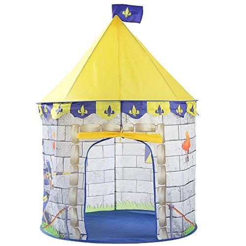 Georgie Porgy Kinder Faltbares Spielhaus Portable Zelt Schloss Indoor Outdoor Spielzeug Garten (Gelbes Ritterschloss)