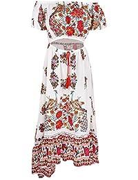 iBaste Retro Vestidos Mujer Una Palabra Hombro Impresión Larga Vestido de Playa