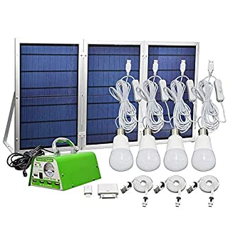 【Newest 30W Solar Panel】30W Off-Grid Solar Lighting System Kit with Portable Power 5 Mobile Phone USB Solar Charger 4 LED Light Bulb as Emergency Light for Patio Yard Garden Area