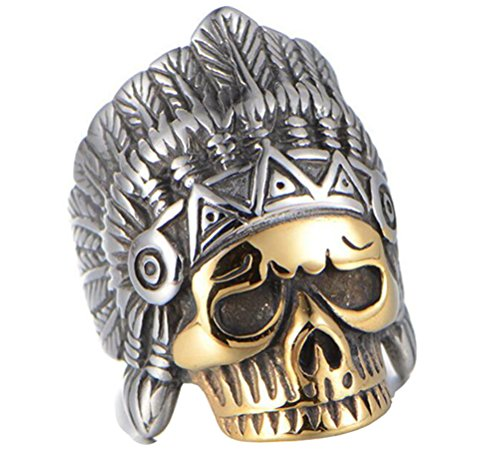 HIJONES Herren Edelstahl Vintage Indischen Schädel Ring Mit Chef Kopfschmuck Gold Überzogen Größe (Krone König Verkauf Zum)