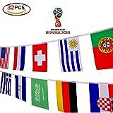 Isuper 2018FIFA World Cup 32squadre string bandiera 9,8m/7.9pollici x 11pollici/20x 28cm decorazione per sport Club, bar, Grand opening string Gagliardetti