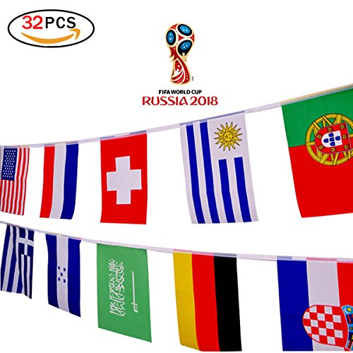 Isuper 32 Teams Saite Flagge 32 ft/20,1 x 27,9 cm/20 x 28 cm Dekoration für Sport Club, Bar, Grand Öffnung Saite PENNANTS