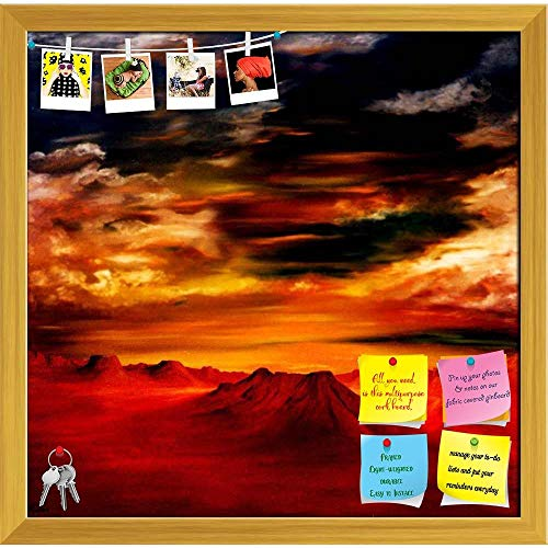 Artzfolio Airbrush Artwork Printed Bulletin Board Notice Pin Board   Golden Frame 16.2 X 16Inch (Airbrush-board)