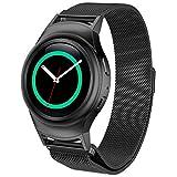 COOL Bracelet de montre, Han Shi Boucle en acier inoxydable Bracelet de montre + connecteur pour Samsung Galaxy Gear S2(Noir)