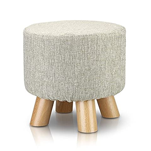 Tribesigns Modern Wood Upholstered Footstool Ottoman Round Pouffe Stool with 4 Beech Legs and Removable Linen Cover, Beige
