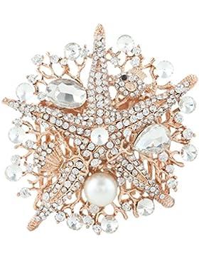 EVER FAITH® österreichischen Kristall künstliche Perle Seestern elegant Hochzeit Haarkamm Haarschmuck Klar Rosagold-Ton...