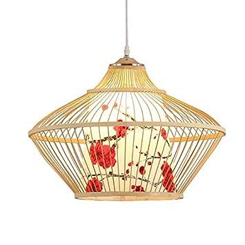 ZWL Bambus Leuchter, Kreatives Restaurant Woody Leuchter Kasten Tee Raum Studie Beleuchtungs Lampen  Sondern Kopf E27, 45 * 30CM Hängende Linie 1.2m Höhe ...